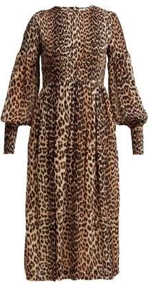 Ganni Mullin Leopard Print Georgette Midi Dress - Womens - Leopard
