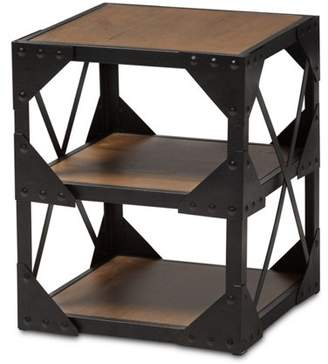 Baxton Studio Hudson Industrial Metal and Distressed Wood Side Table
