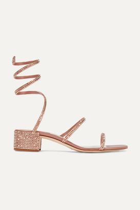 Rene Caovilla Cleo Crystal-embellished Satin Sandals - Antique rose