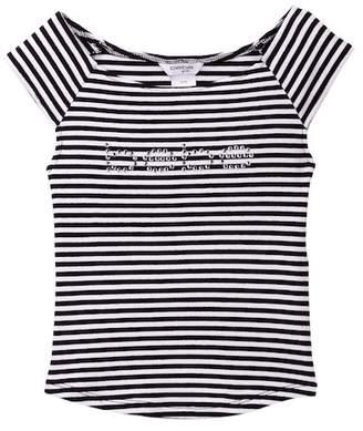 Bebe Short Sleeve Stripe Logo Top (Big Girls)