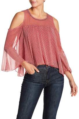 Lucky Brand Printed Cold Shoulder Bell Sleeve Blouse