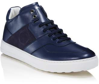 Salvatore Ferragamo Men's Cliff Leather Mid Top Sneakers - 100% Exclusive