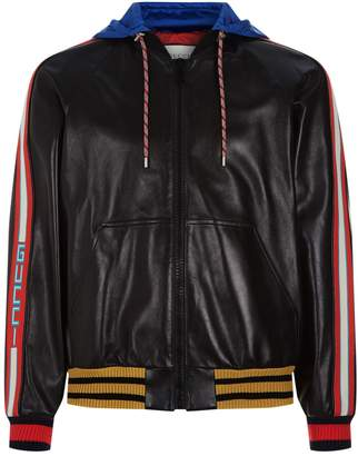 Gucci Contrast Hood Leather Bomber Jacket