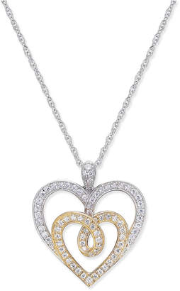 Macy's Diamond Two-Tone Heart Pendant Necklace (1/3 ct. t.w.) in 14k Gold and White Gold