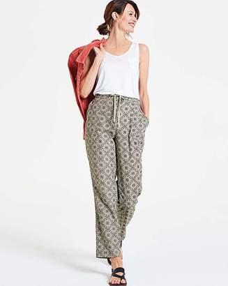Fashion World Print Linen Rich Tapered Leg Trousers
