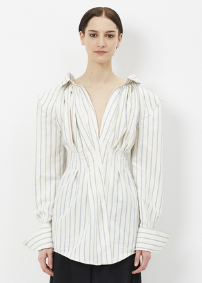 Jacquemus off white / blue striped la robe meunier $485 thestylecure.com