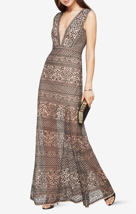 BCBGMAXAZRIAAurora Embroidered Tulle Gown