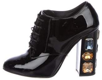 Dolce & Gabbana Patent Leather Lace-Up Booties