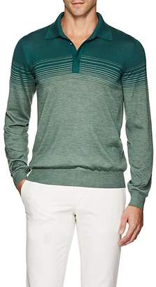 Fioroni Men's Ombré-Striped Cashmere-Silk Polo Shirt