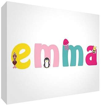 clear Little Helper Souvenir Decorative Polished Acrylic Diamond Style Example with Girl Name Emma 10.5 x 15 x 2 cm Large