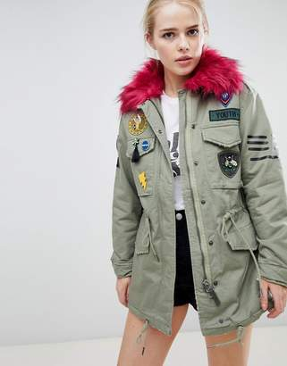 Bershka Badge And Patch Detail Parka