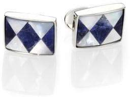 David Donahue Sterling Silver, Sodalite& Mother Of Pearl Cuff Links