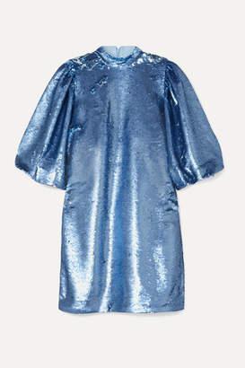 Ganni Sequined Tulle Mini Dress - Light blue