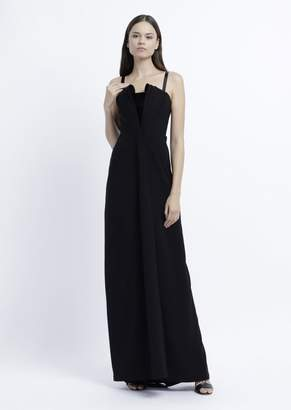 Emporio Armani Long Dress With Stiff Lined Bodice And Patent Leather Details
