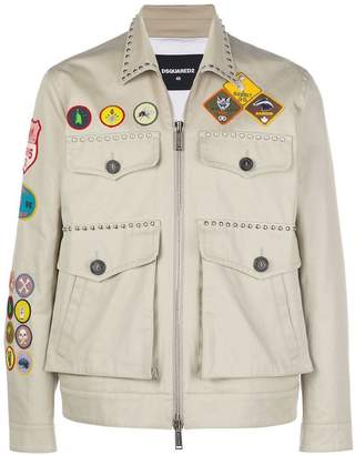 DSQUARED2 patch studs military jacket