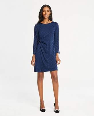 Ann Taylor Dot Jacquard Knotted Shift Dress