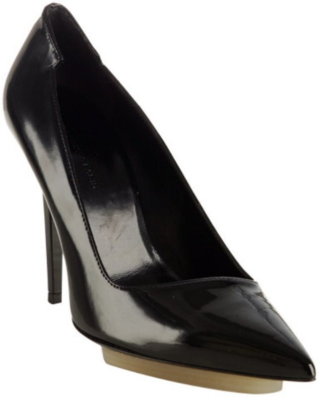 Balenciaga black patent leather platform pumps