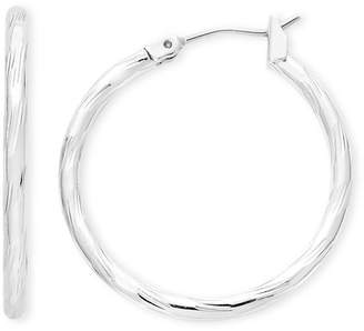 Liz Claiborne Silver-Tone, Textured Hoop Earrings