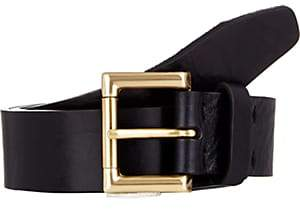 Barneys New York Men's Distressed Leather Belt-Navy