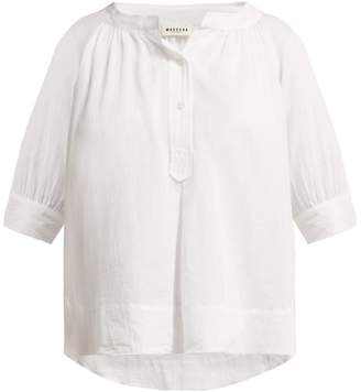 Masscob Maine Cropped Sleeve Cotton Blouse - Womens - White