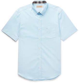 Burberry Button-Down Collar Stretch-Cotton Poplin Shirt