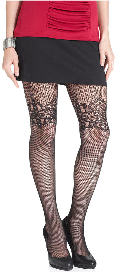Jessica Simpson Floral Design Net Tights