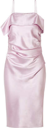 Helmut Lang Ruched Satin Midi Dress - Baby pink
