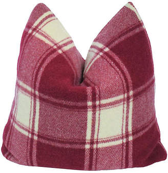 One Kings Lane Vintage Burgundy Plaid Pillow - AntiqueLifestyle