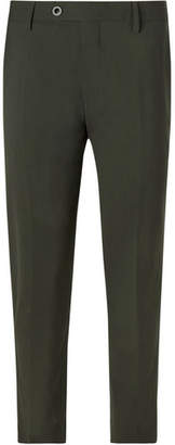 Mr P. Dark-Green Slim-Fit Stretch-Wool Trousers