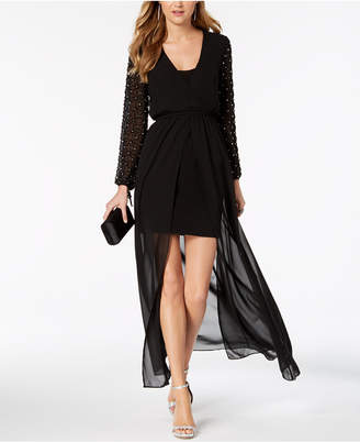 Betsy & Adam Embellished-Sleeve High-Low Dress