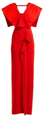 Roland Mouret Lorre Draped Crepe Dress - Womens - Red