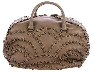 Bottega Veneta Lizard Intrecciato-Trimmed Handle Bag
