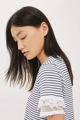 Petite stripe dobby trim t-shirt