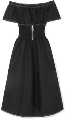 Maje Off-the-shoulder Shirred Cotton-blend Dress - Black