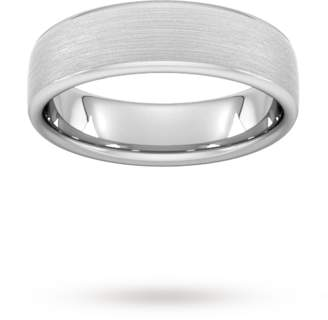 6mm Traditional Court Heavy Matt Finished Wedding Ring In 18 Carat White Gold
