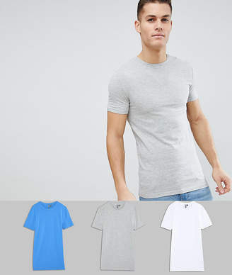 Asos Design Longline Muscle Fit T-Shirt With Crew Neck And Stretch 3 Pack Save
