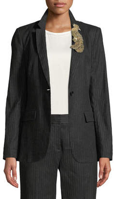 Kobi Halperin Revi Pinstripe Jacket with Bird Embellishment