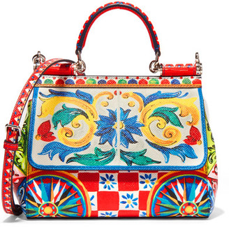 Dolce & Gabbana - Sicily Small Printed Textured-leather Shoulder Bag $2,295 thestylecure.com