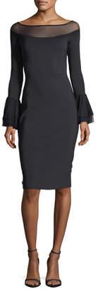 Chiara Boni Giuly Illusion Long-Sleeve Sheath Cocktail Dress