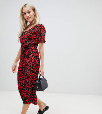 New Look Petite belted jumpsuit in red pattern