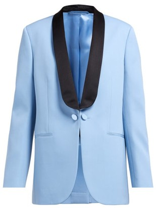 Calvin Klein Silk Satin Lapel Wool Tuxedo Jacket - Womens - Blue Multi