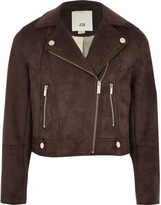 River Island Girls Brown faux suede biker jacket
