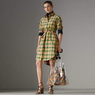 Burberry Painted Check Cotton Tie-waist Shirt Dress , Size: 06