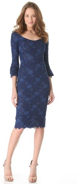 L'Wren Scott Bell Sleeve Dress with Open Neck