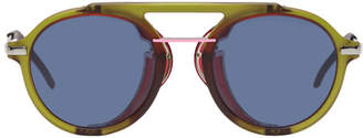 Fendi Green and Red Wrap Sunglasses