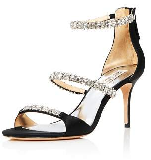 Badgley Mischka Women's Yadira Embellished Satin Triple Strap High-Heel Sandals