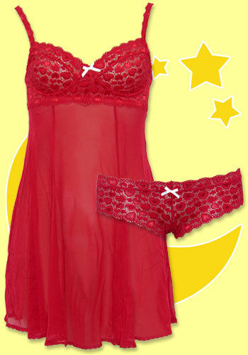 Eberjey Heart to Heart Red Chemise & Thong