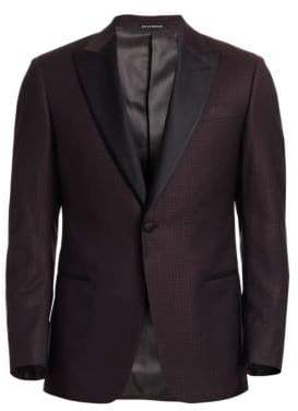 Emporio Armani Men's Print Wool Dinner Jacket - Merlot - Size 48 (38) R