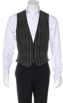 Dries Van Noten Plaid Linen-Blend Suit Vest