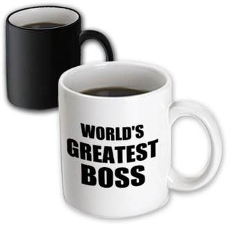 Boss Black 3dRose Worlds Greatest text. great design for the best boss ever, Magic Transforming Mug, 11oz